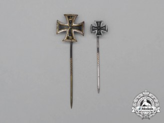 A First and Second War German Iron Cross First Class Stickpins