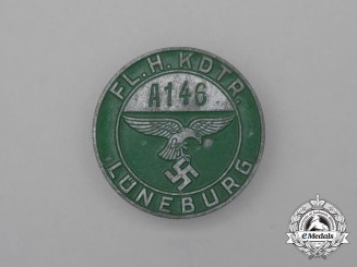 "A Luftwaffe ""Flight Main Commanding Station"" Lüneburg Employee Badge"