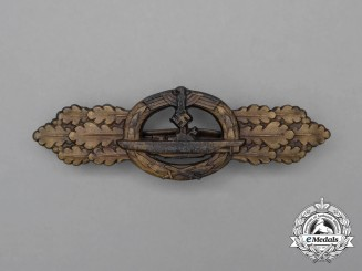 A Second War German Bronze Grade Submarine Front Clasp by Schwerin