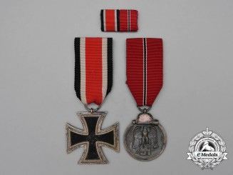A Second War Iron Cross 1939 Second Class Grouping with Matching Medal Ribbon Bar