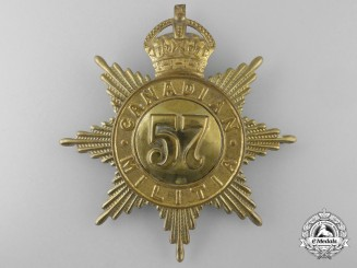 A 57th Regiment (Peterborough Rangers) Canadian Militia Helmet Plate c1908