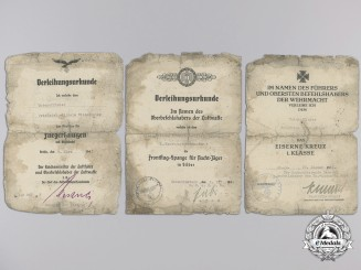 A Luftwaffe Night Fighter Award Document Group to Unteroffizier Wildschütze