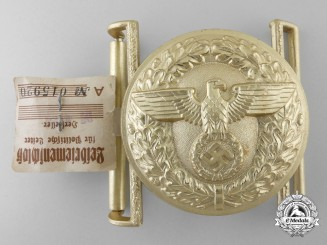 A Mint Political Leader's Belt Buckle by Friedrich Linden with RZM Control Tag