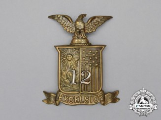 A New York National Guard 12th Infantry Company Spiked Helmet Badge, c. 1881-1902