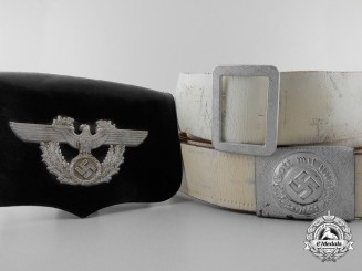 A Very Rare Second War German Police White Parade Belt, Cross Belt, & Pouch