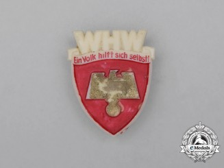 """A Third Reich Period WHW """"The people help themselves"""" Fundraiser Donation Badge"""