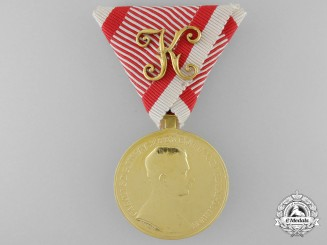 An Absolutely Mint First War Austrian Golden Bravery Medal for Officers