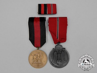 A Second War German Medal Pair & Ribbon Bar