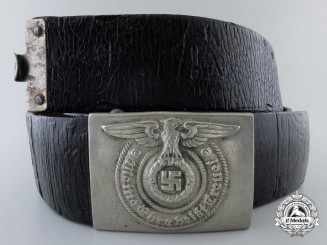 An Early SS EM Belt Buckle by Overhoff & Cie with Black Belt