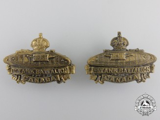 A First War 1st Canadian Tank Battalion Collar Badge Pair