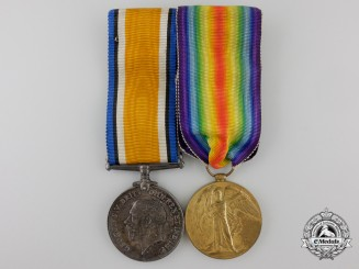A First War Medal Pair to Private Clark, 25th Battalion; Wounded September 1918