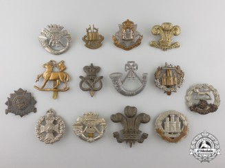 Fourteen First & Second War British Cap Badges