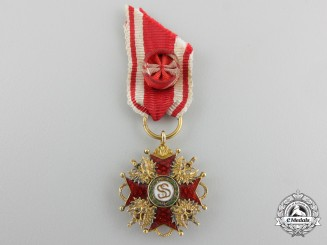 A Miniature Russian Order of St. Stanislaus in Gold