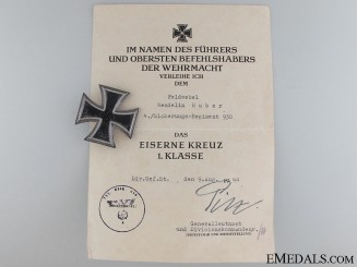 Iron Cross 1st Class 1939 to W.Huber 4h Sicherungs