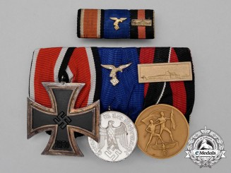 A Luftwaffe Long Service Parade Mounted Medal Bar & Ribbon Bar
