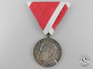 A Croatian Ante Pavelić  Bravery Medal; Silver Grade