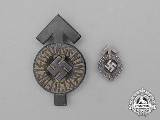 A Silver Grade HJ Proficiency Badge by Gustav Brehmer of Markneukirchen with Miniature
