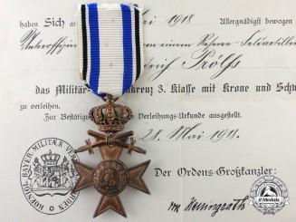 A Bavarian Military Merit Medal; 3rd Class Cross with Award Document 1918