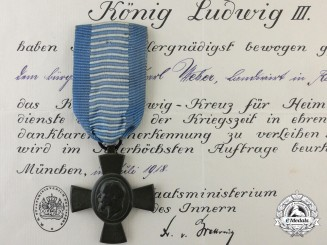 A Bavarian King Ludwig's Cross with Award Document 1918