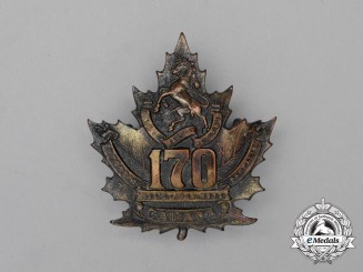 "A First War 170th Infantry Battalion ""Mississauga Horse"" Cap Badge"