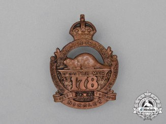 "A First War CEF 178th Infantry Battalion ""Canadiens Francais"" Cap Badge"