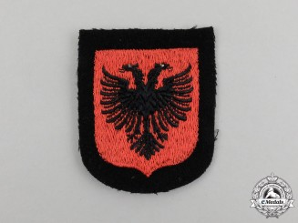 A Mint and Unissued Albanian Waffen-SS Volunteer Sleeve Shield Insignia