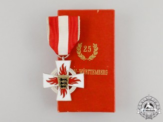 A Mint German Cased Fire Brigade Baden-Württemberg 25 Year Service Cross