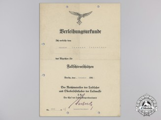 An Award Document for A Fallschirmschützen (Paratrooper) Badge, Berlin, 1940