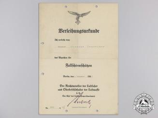 An Award Document for A Fallschirmschützen (Paratrooper) Badge, Berlin, 1940