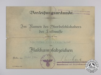 An Award Document for Luftwaffe Flakkampfabzeichen (Flak Badge)