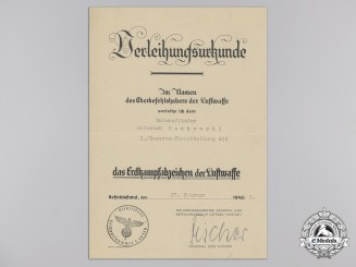 An Award Document for a Erdkampfabzeichen (Ground Assault Badge)