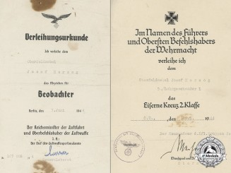 Two Awards Documents top Oberfeldwebel J. Herzog