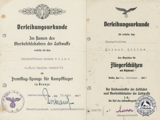 "Two Award Documents to Unteroffizier Helmut Wilms; ""Legion Condor"""