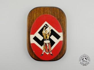 A Third Reich Period HJ Drummer Boy Wooden Plaque