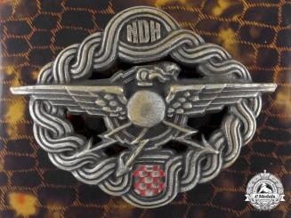 A Second War Croatian Radio Operator & Air Gunner Badge with Case