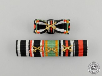 A First and Second War Order of the Zähringer Lion Medal Ribbon Bar with Boutonniere