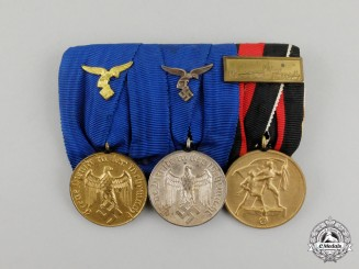 A Second War German Luftwaffe Long Service Medal Bar Grouping