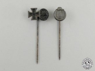 Two Second War German Miniature Stick Pins