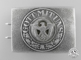 A Unique Army EM Belt Buckle with Civil Police Insignia Added Buckle; Published