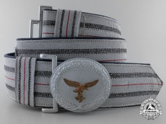 A Luftwaffe Officer's Brocade Dress Belt with Buckle; Named to Leutnant Schildt