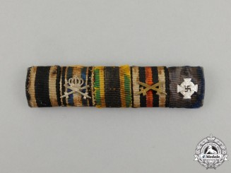 A First and Second War Order of the White Falcon Merit Cross Medal Ribbon Bar
