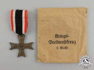 A War Merit Cross Second Class without Swords in its Packet of Issue by Baumeister