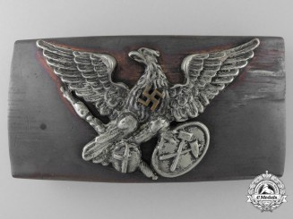 A Rare Prussian National Bureau of Mines Nazi-Era Modified Belt Buckle; Published