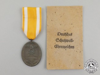 A German West Wall Medal in its Original Packet of Issue by Carl Poellath