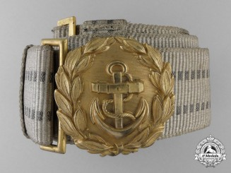 A Kriegsmarine Navy Line Officer's Brocade Dress Belt with Buckle; Published