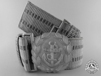 A Kriegsmarine Administrative Official's Brocade Dress Belt with Buckle; Published