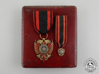 Albania, Italian Protectorate. An Order of Skanderbeg, Knight Badge with Miniature, c.1941