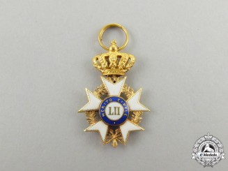 A Fine Miniature Tuscan Order of Military Merit in Gold