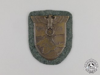 A Mint Wehrmacht Heer (Army) Issue Krim Campaign Shield