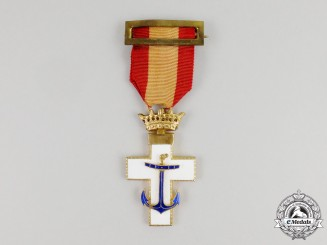 A Spanish Order of Naval Merit with White Distinction; 1st Class Breast Badge,